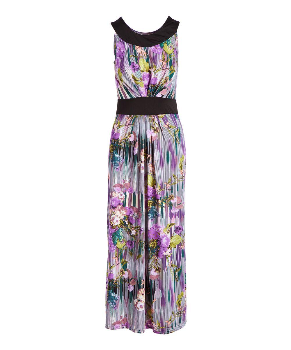 Jon u anna purple abstract floral pleated maxi dress women