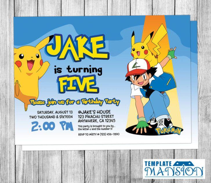Birthday Pokemon Themed Birthday Party Invitation Template Ash And Pikachu Bday Party Invite