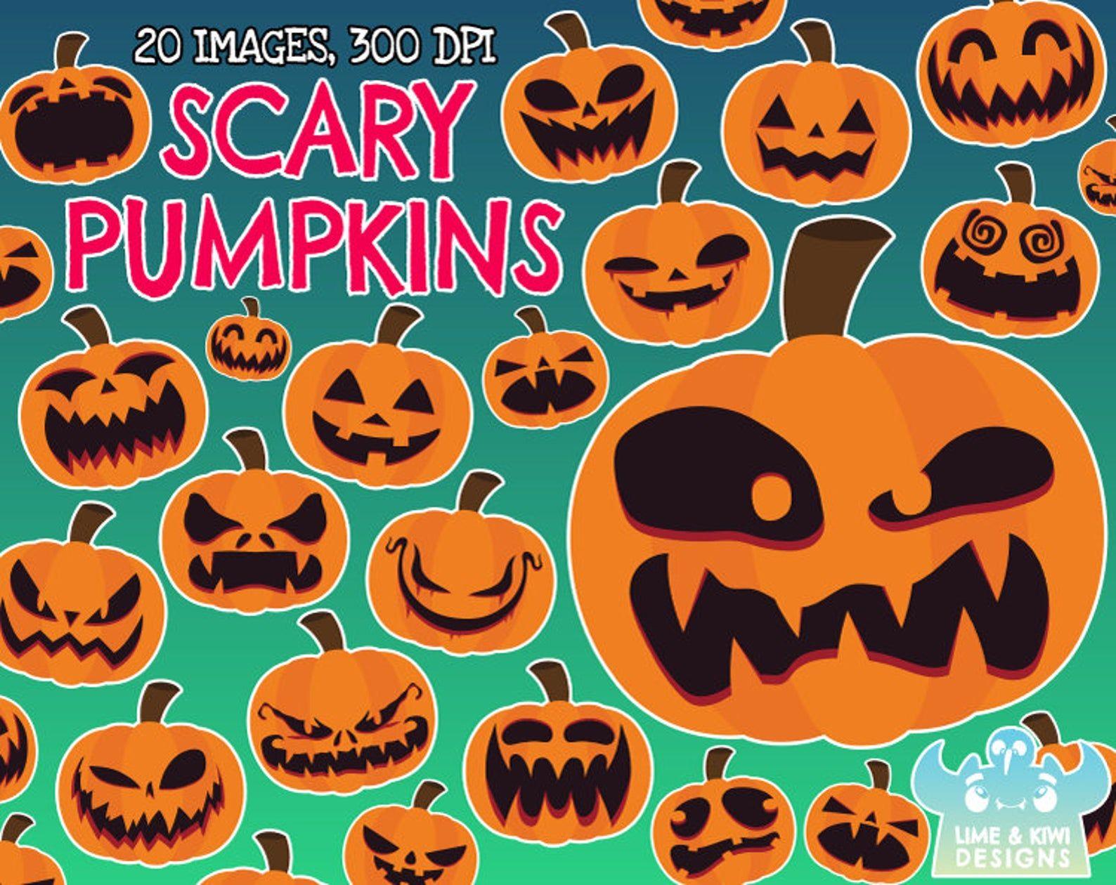 Scary Halloween Pumpkins Clipart Instant Download Vector