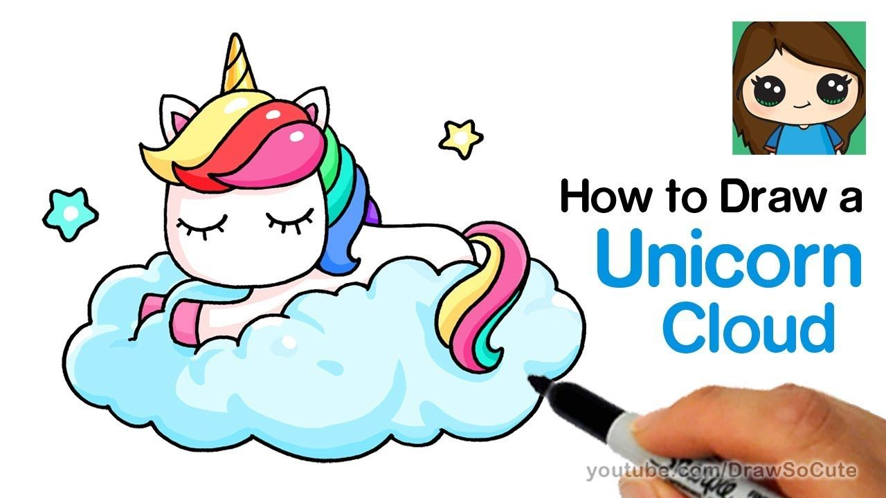How To Draw A Unicorn On A Cloud Easy Youtube With Images