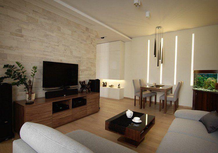 parement mural salon en pierre sol en stratifie et meubles bois fonce decoration murale