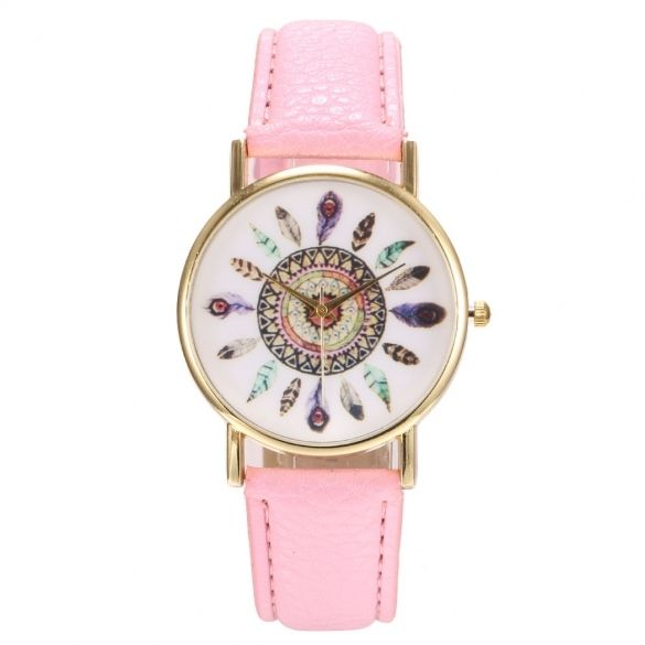 New Women Round Wristwatch Print Quartz Battery Analog Casual Sports Watch