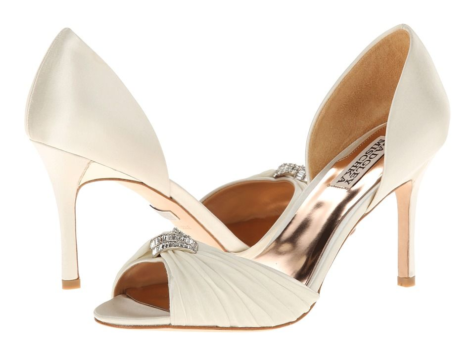 Womens Shoes Badgley Mischka Jennifer Ivory Satin/Chiffon