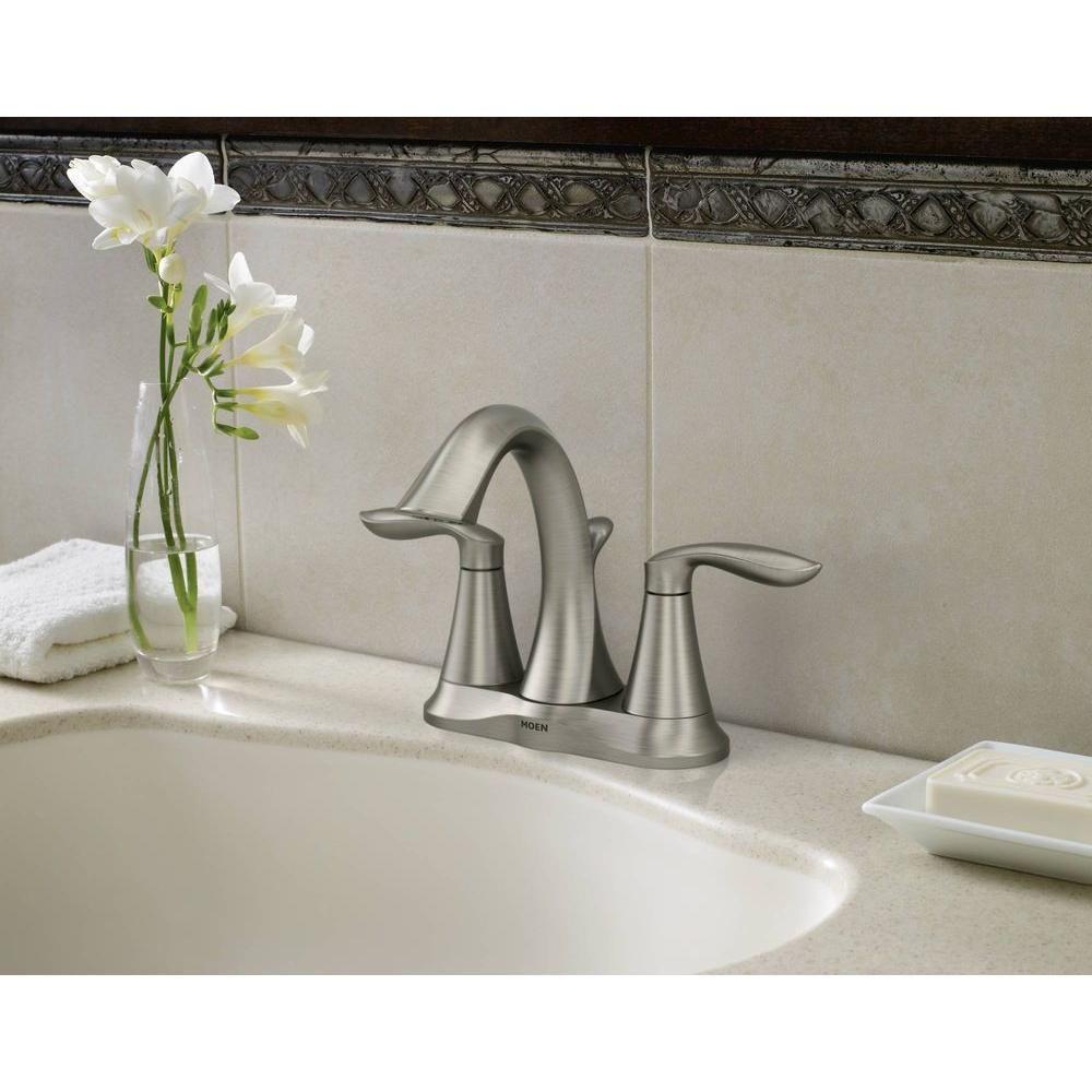 MOEN Eva 4 in. Centerset 2-Handle High-Arc Bathroom Faucet in ...