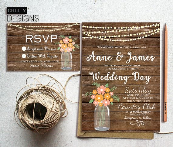 Rustic Wedding Invitation Printable Country by ohlillydesigns