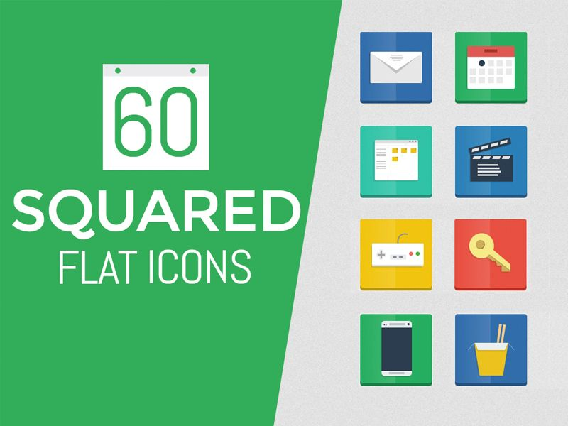 60 Squared Flat Icons Pack