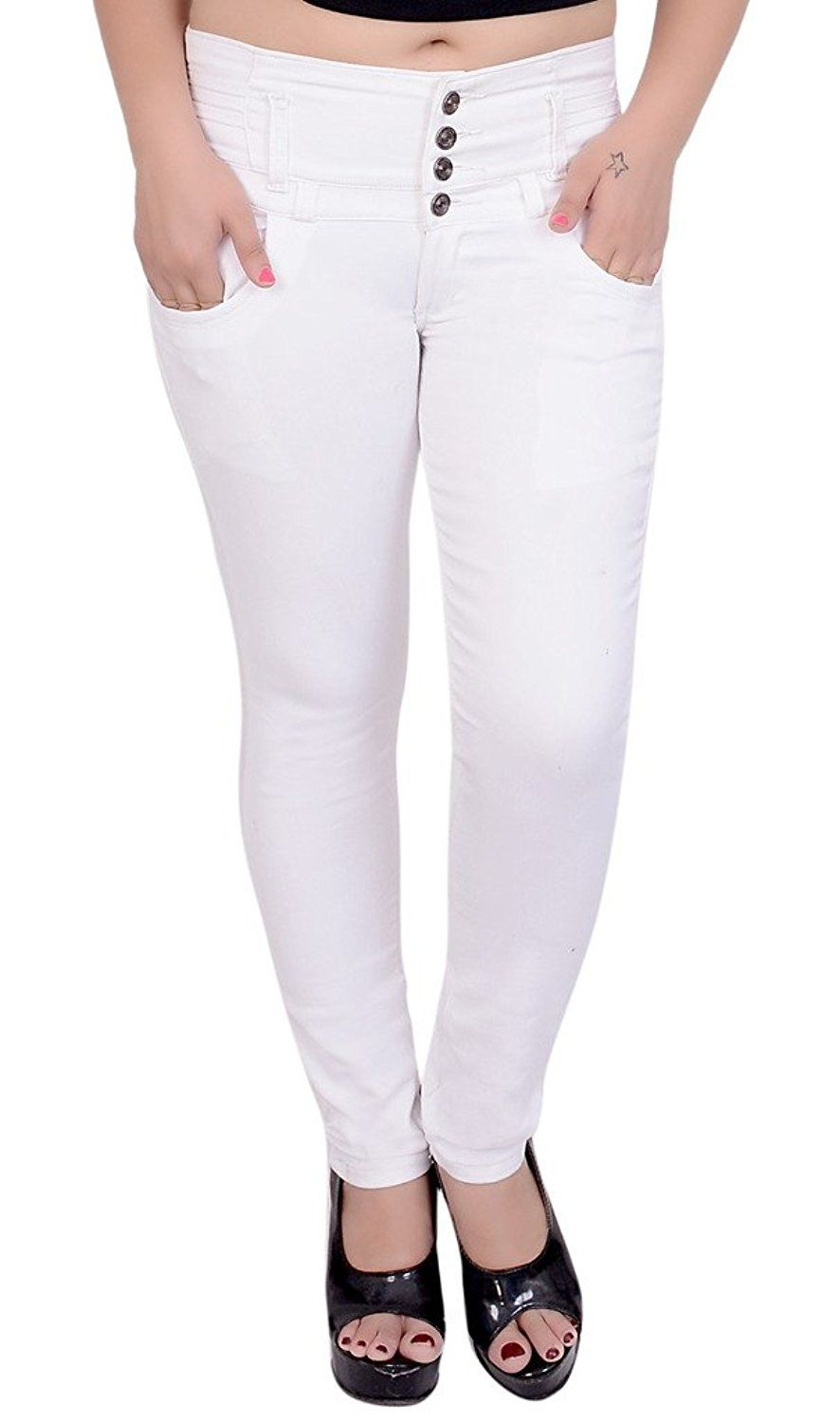6cce1b503 Nifty Women's White Denim Slim Fit Jeans White Colour Fabric:Denims Slim  Fit and casual wear Brand Name : Nifty Wash Care : hand wash And dry clean