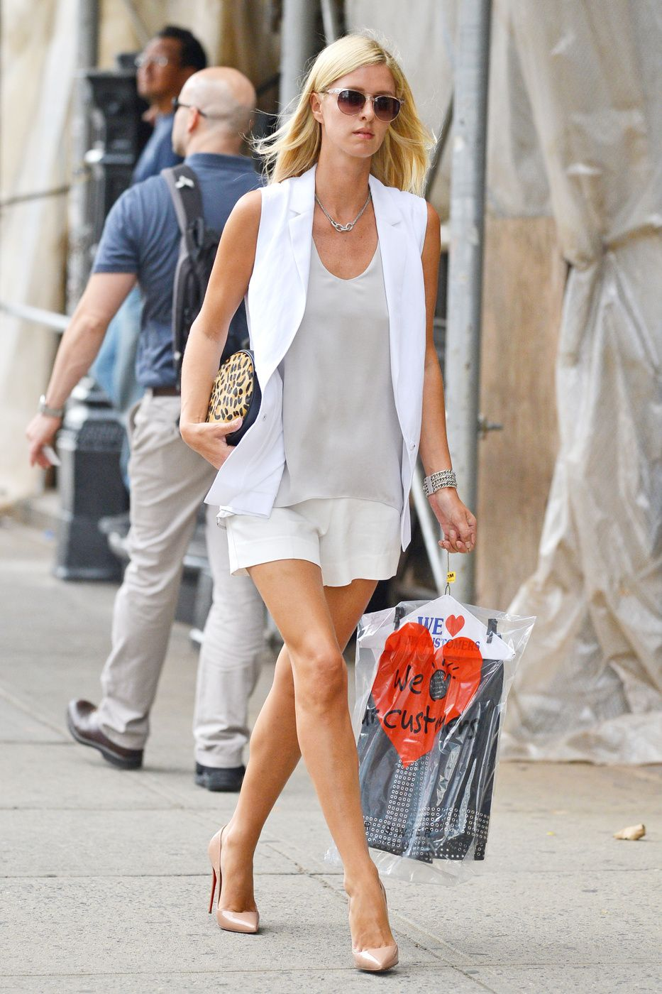 146cf2ccaf7e Ignore the classic Labor Day rule and take a cue from Nicky Hilton. In this  look she pairs a crisp white vest with muted neutrals ...