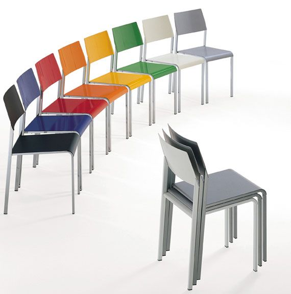 Stackable Colorful Stackable Office Chairs Design From Hard Plastic Material Home
