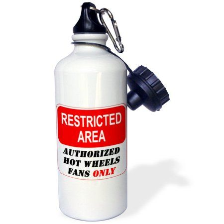 3dRose Restricted Area Authorized Hot Wheels Fans Only sign, Sports Water Bottle, 21oz, White
