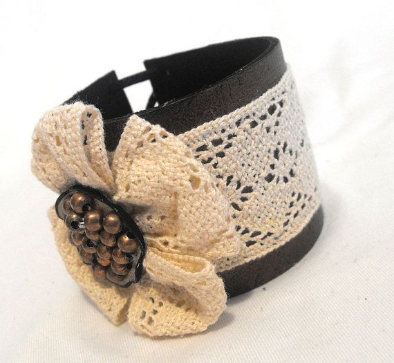 Leather and lace cuff bracelet. Vintage chic inspired leather bracelet that has been handmade from leather and lace
