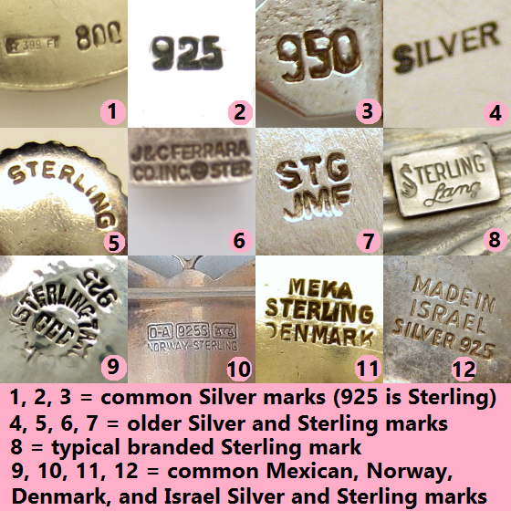 Vintage Jewelry Marks For Silver Purity Great To Know