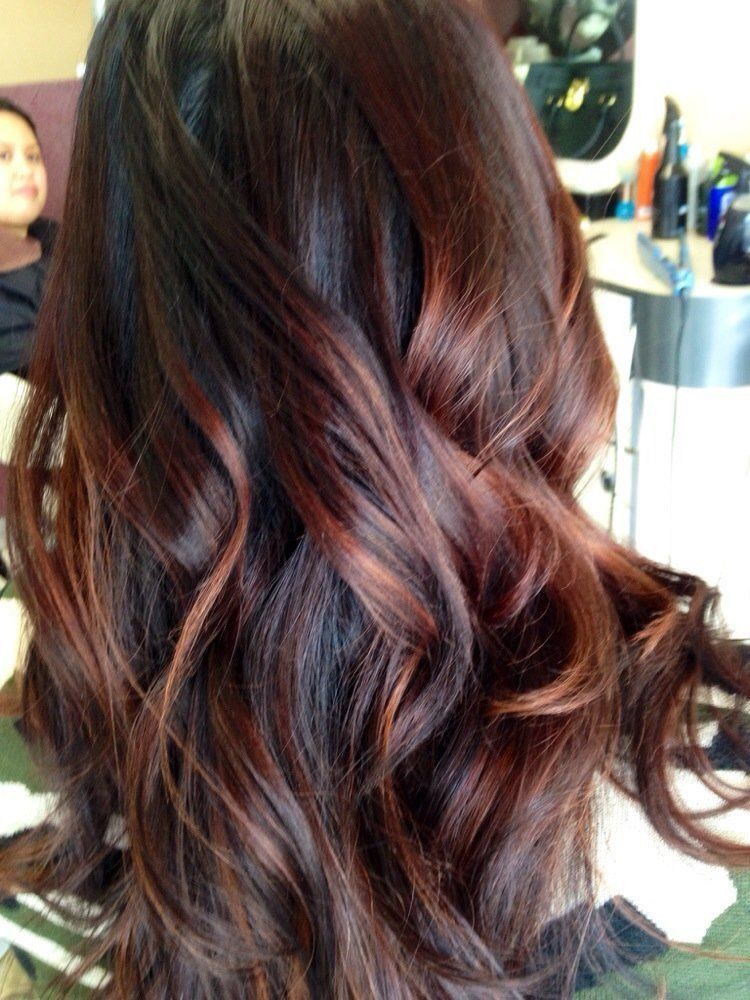 Long Color Red Highlights Red Balayage Hair Brown Hair Balayage Auburn Hair Balayage
