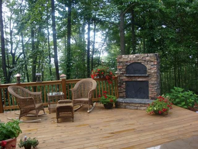 In The Mountains On My Deck Yes Please Outdoor Stone Fireplaces Outdoor Fireplace Outdoor Inspirations