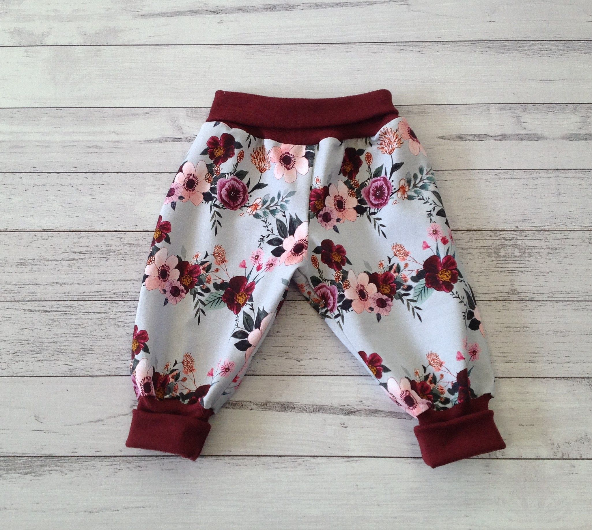 ed95c55ee281dc Baby girl maroon and blue floral ribbed baby harem pants in cotton spandex  jersey//