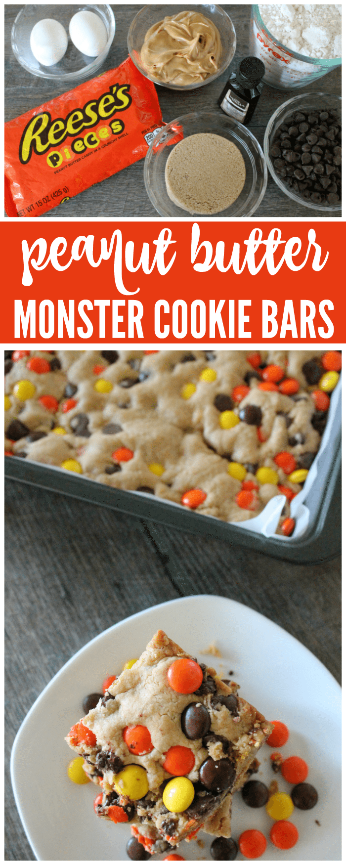 Peanut Butter Monster Cookie Bars are the perfect Summer Dessert full of Chocolate Peanut Butter goodness in a chewy cookie recipe. Butter Monster Cookie Bars are the perfect Summer Dessert full of Chocolate Peanut Butter goodness in a chewy cookie recipe.