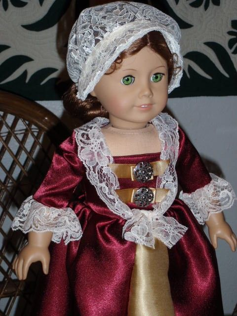 Colonial Gown and Round-Eared Cap for by alohagirldollclothes