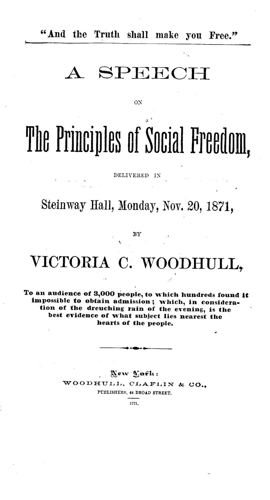 You Can Scroll Through WoodhullS  Steinway Hall Speech Here