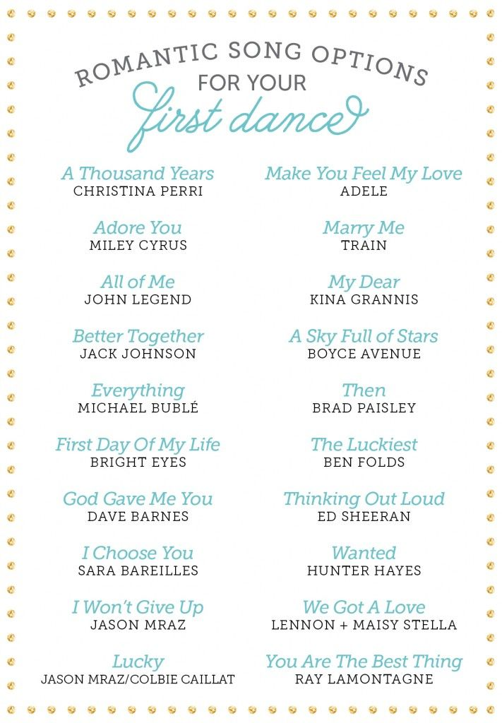 Romantic Songs For Your First Dance