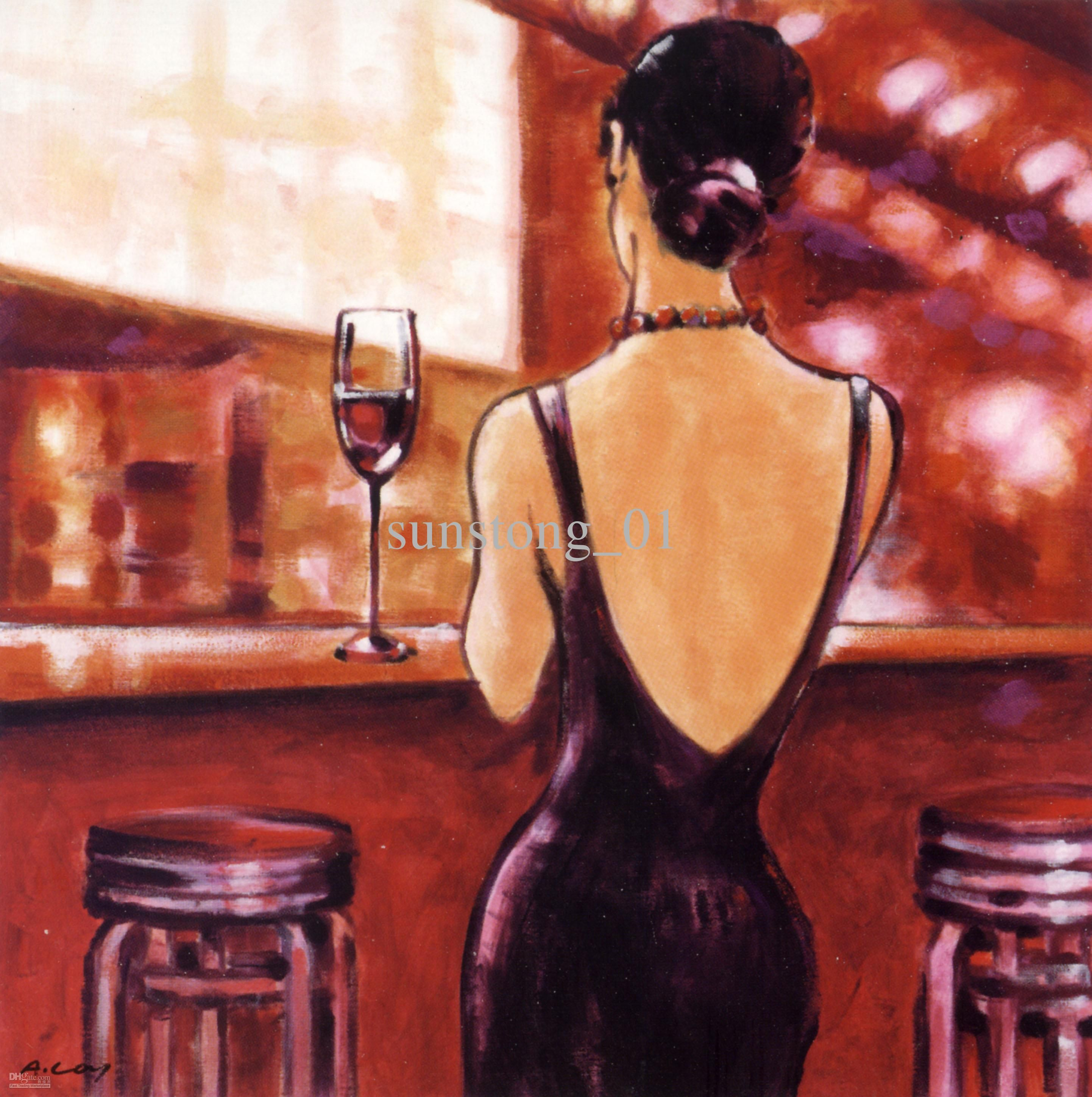 Impression hotel art wall women drink wine in bar home for Paint vino