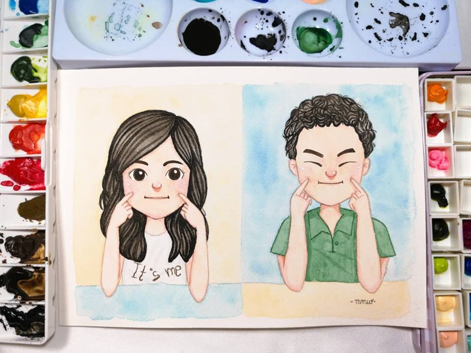 Watercolorpainting Cute Watercolor Cartoon Drawing Birthday
