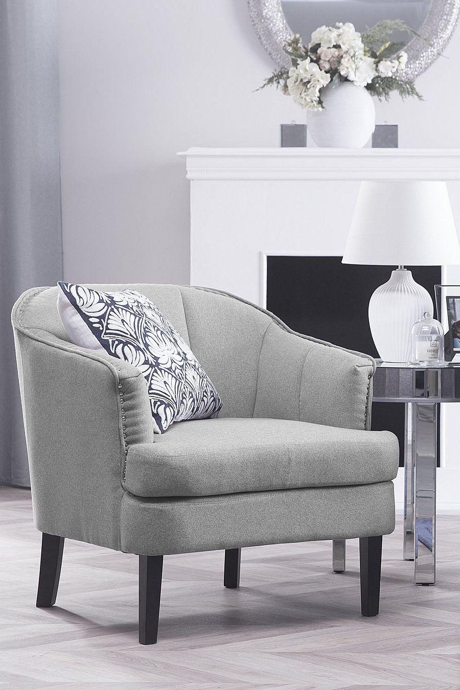 Fotel Tapicerowany Szary Krzesło Elverum Salon W 2019