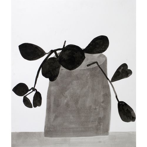 """Jonas Wood  Black and White Plant, 2009  ink on paper  21 1/4"""" x 18"""""""