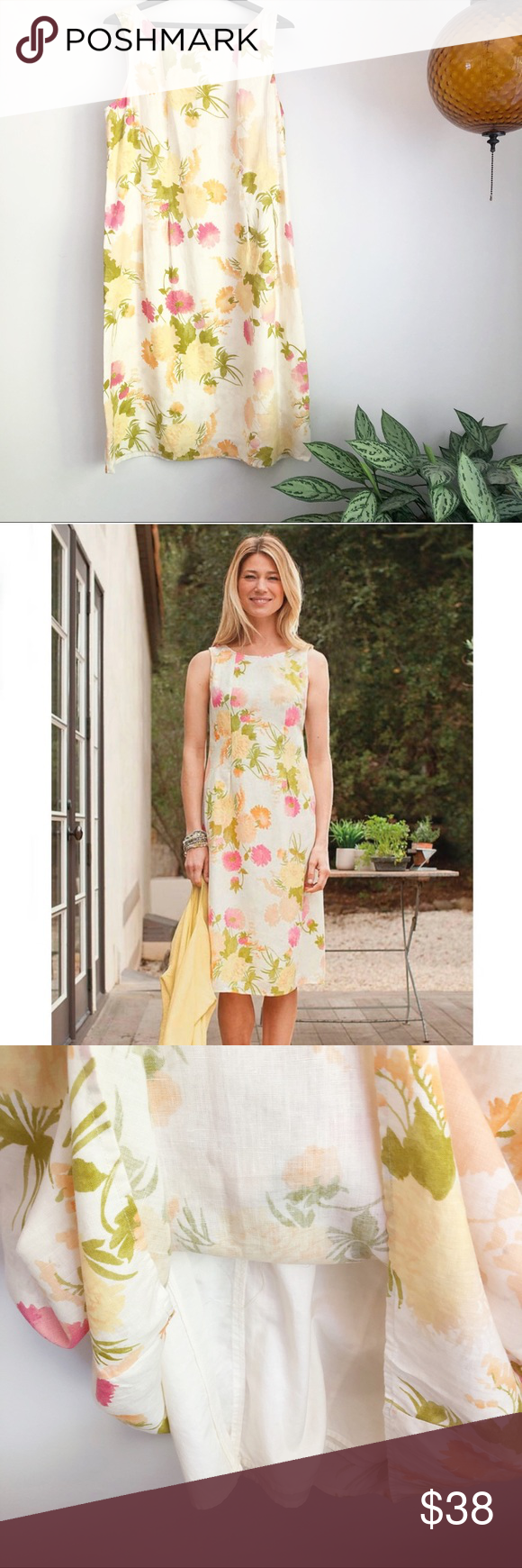 J Jill Linen Floral Sleeveless Dress Sleeveless Floral Dress Floral Sleeveless Linen Dresses [ 1740 x 580 Pixel ]