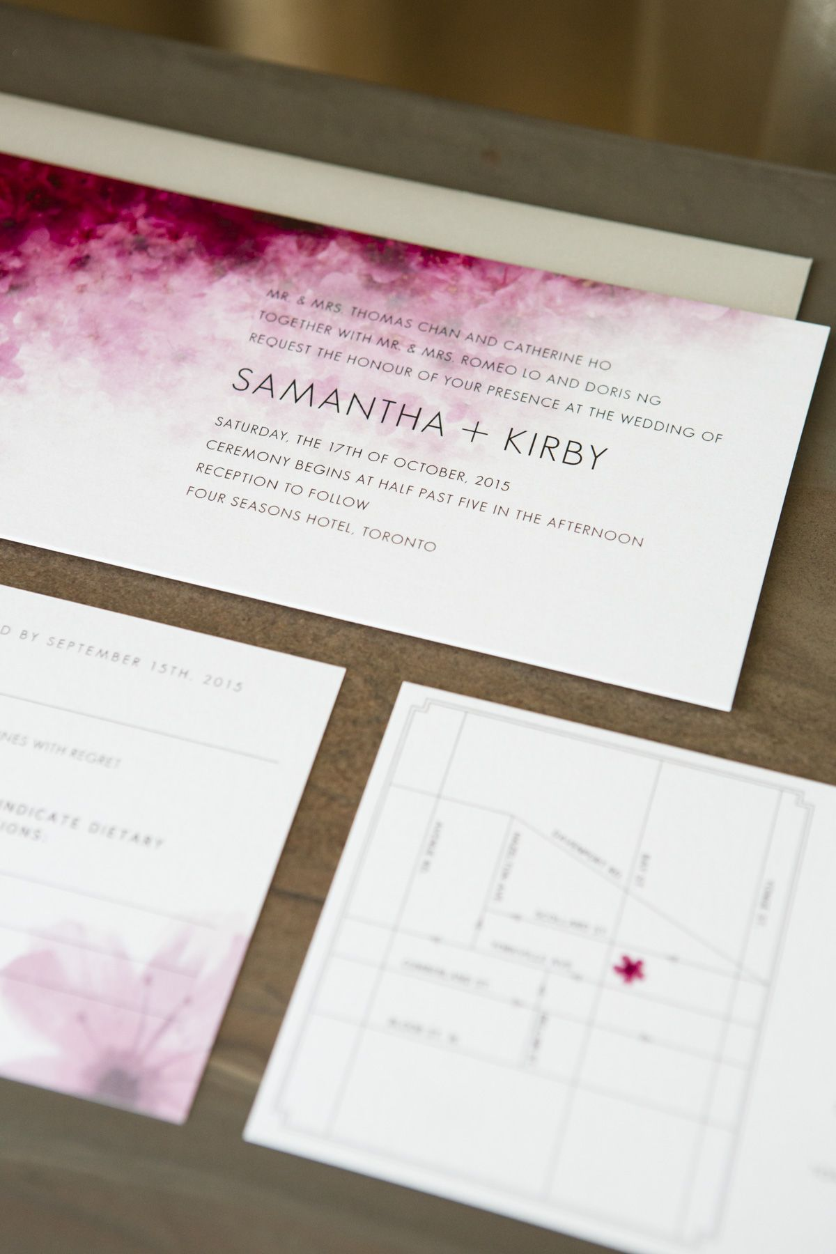 Modern White and Blush Wedding Invitation suite at Four Seasons ...
