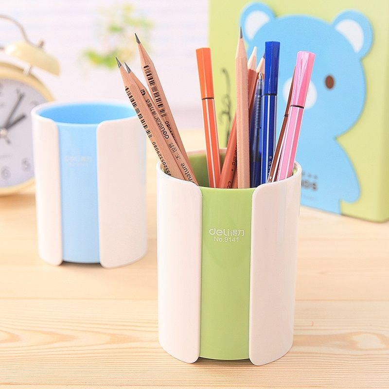 1 Pc Lot Cute Fashion Double Color Round Pen Holder For School Stationery