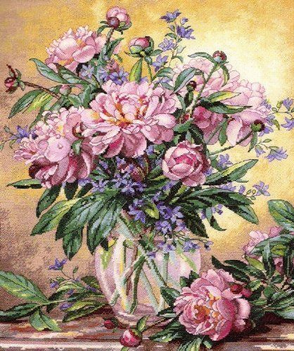 Cross Stitch Kit Peonies Canterbury Bells Dimensions Gold Collection Http Www Amazon Com Dp B002auerv6 Ref Cm Floral Painting Flower Art Flower Painting