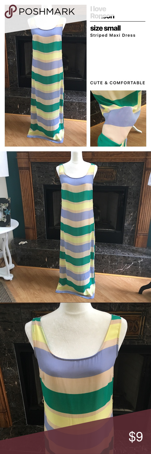 I Love Ronson Maxi Dress Cute striped Maxi Dress in size small. Used to have a belt. I can't locate the belt. I Love Ronson Dresses Maxi