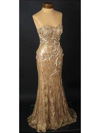 40S STYLE BEADED GOLD LACE/SATIN EVENING GOWN