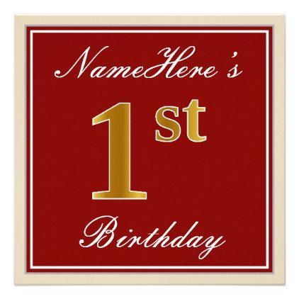 Elegant Red Faux Gold St Birthday Custom Name Card  Birthday