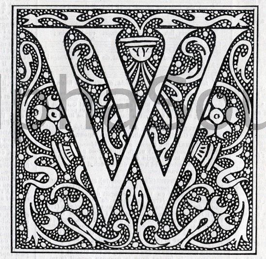 Instant Jpeg Download French Letter W Illuminated