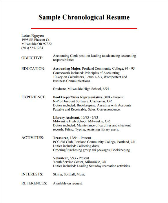Chronological Resume Samples Examples Format Example And Letter