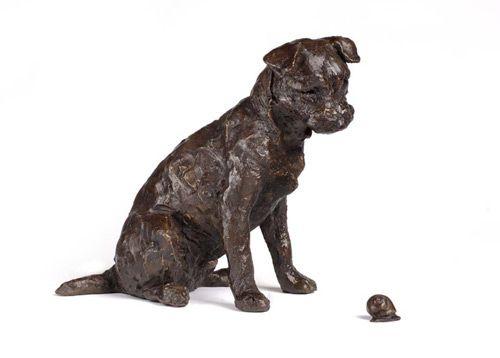 Jackson And Snail Border Terrier Sculpture British Art