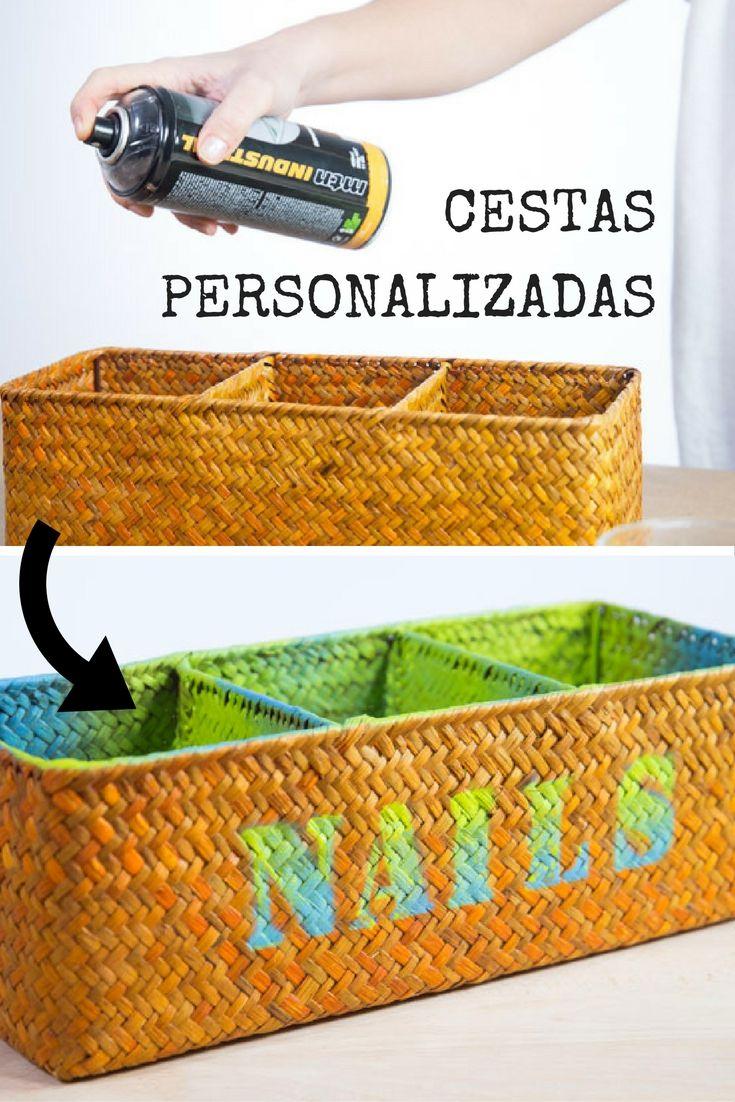Cesta decorada para el baño ➜ Decora una cesta básica con pintura ...