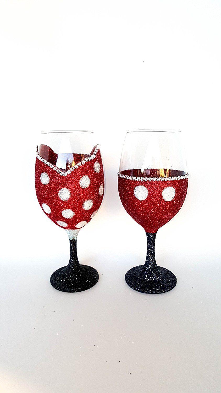 Glitter Wine Glass Set Disney Mickey Minnie Mouse Inspired Disney Wine Glasses Disney Wedding Disney Decor Wine Glass Set Glitter Wine Wine Glass