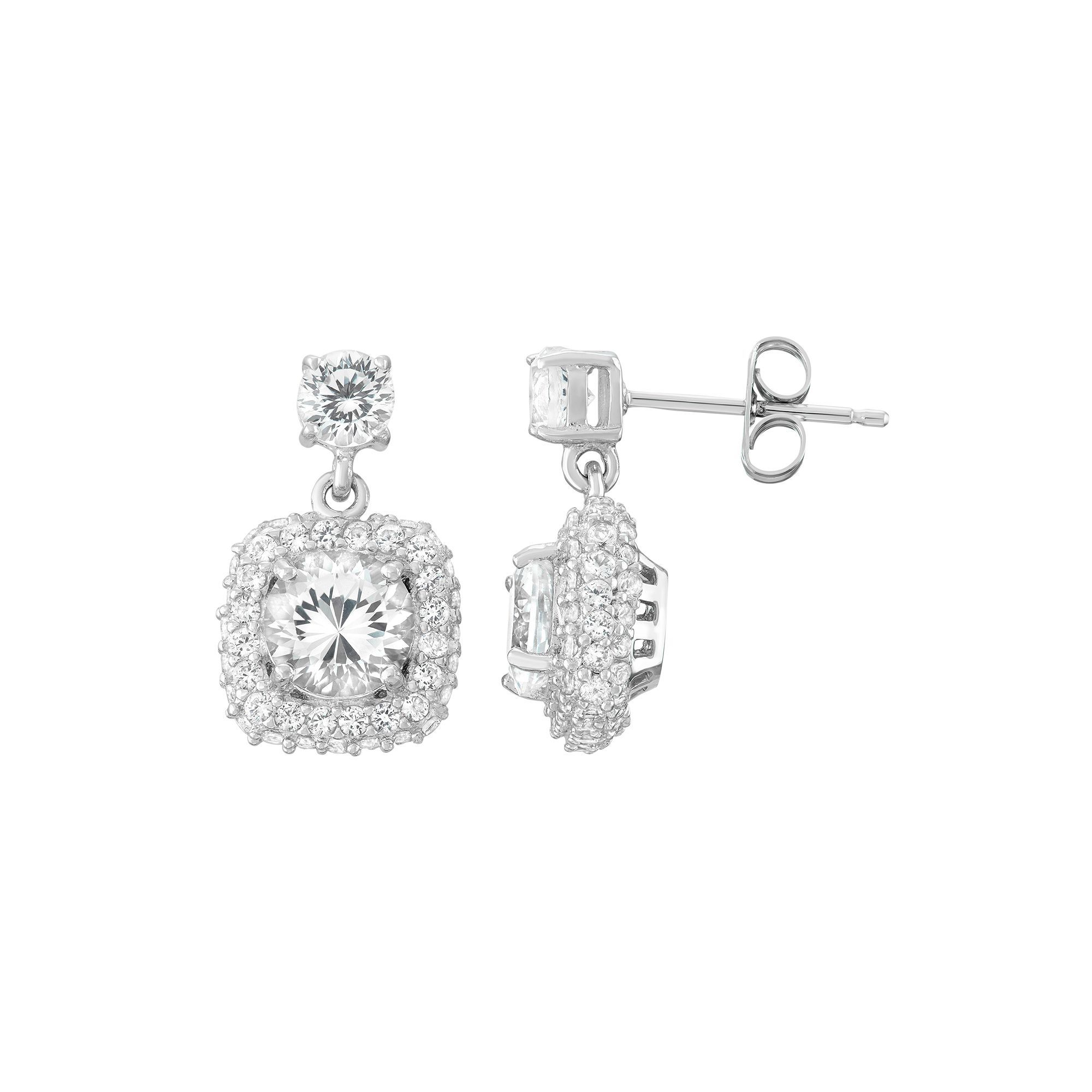100 Facets of Love Sterling Silver Lab-Created White Sapphire Square Halo Drop Earrings, Women's