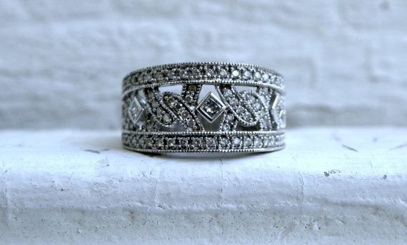 Beautiful Wide Vintage 14K White Gold Diamond Band by GoldAdore