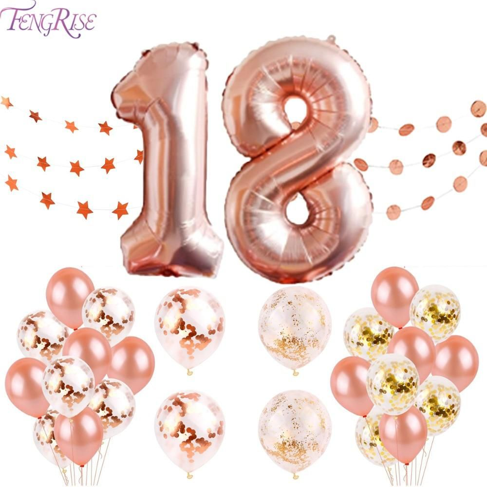 FENGRISE 18 Happy Birthday Banner Rose Gold Balloons 18th Party Decorations Adult Years Ballons Event