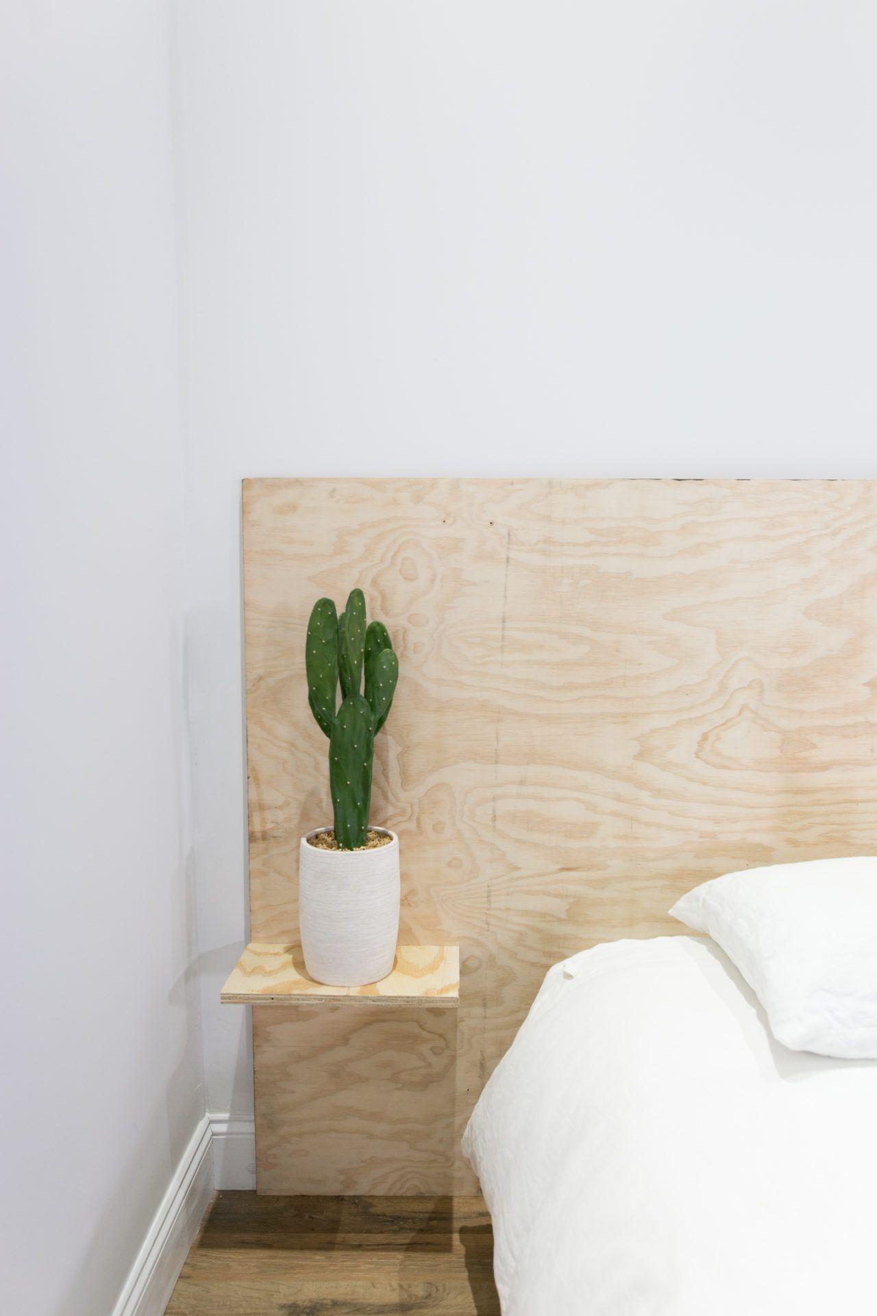 Diy Minimalist Plywood Shelf Headboard Headboard With Shelves