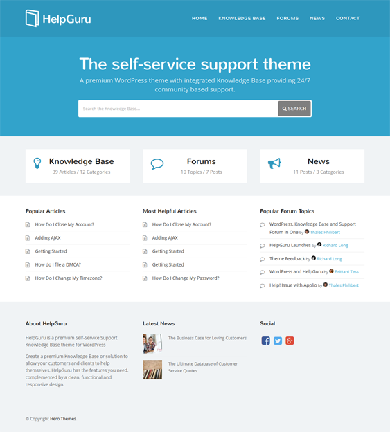 This knowledge base WordPress theme includes a responsive layout ...