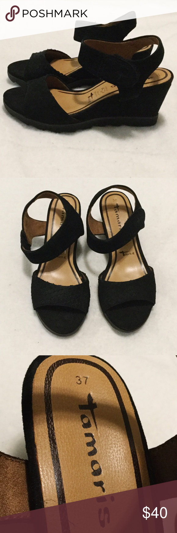 Tamaris Black Nubuck Leather Wedge Sandals Tamaris black