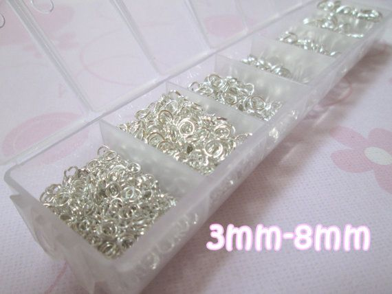 1 Box of Silver Plated Open Jump Rings 3mm 8mm 1500 Jump Rings Nickel Free