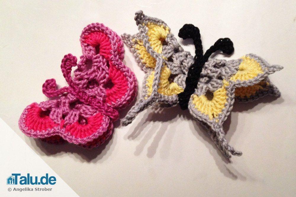 Schmetterling häkeln - kostenlose DIY-Anleitung | Pinterest ...