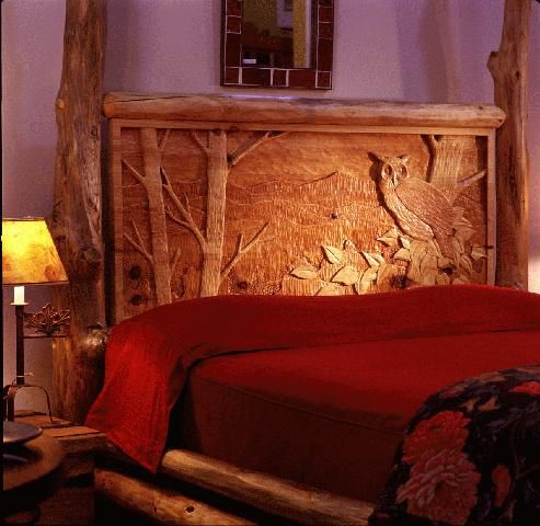 Rustic Bed With Hand Carved Headboard