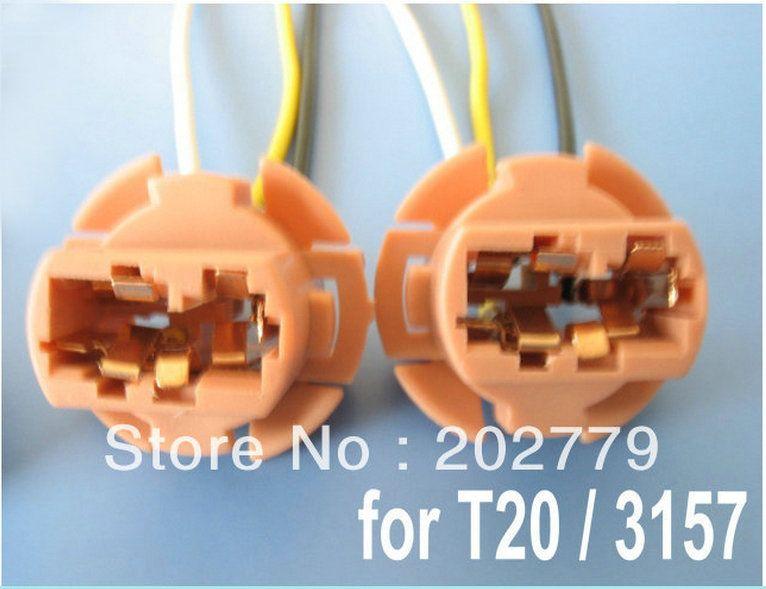Longyue 50pcs T20 3157 Light Socket Headlight Wiring Harness Connector Adapter Bulb Wire Bulb Sockets Adapter
