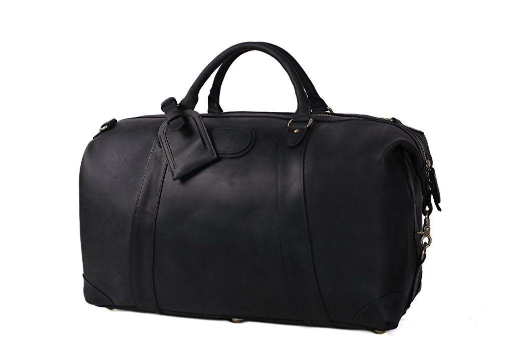 6710b1dd69cb64 ROCKCOW Vintage Leather Duffel Travel Gym Sports Overnight Weekend Bag  Holdall